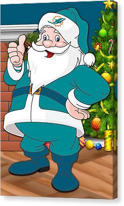 Dolphins Santa Claus Canvas Print by Joe Hamilton