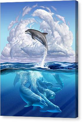 Dolphonic Symphony Canvas Print by Jerry LoFaro