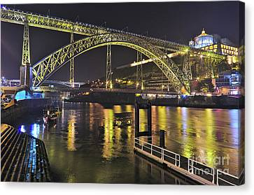 Dom Luis I Bridge At Night In Porto Canvas Print by Angelo DeVal