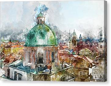 Dome In Prague Czech Republic Canvas Print by Brandon Bourdages