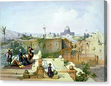 Dome Of The Rock In The Background Canvas Print by Munir Alawi