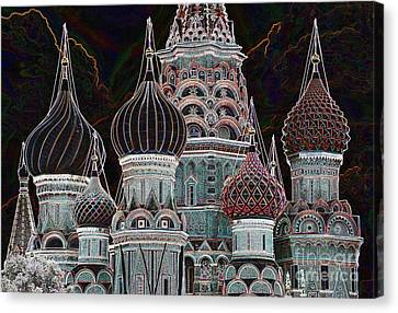 Domes Of St. Basil Cw Canvas Print by Steven Liveoak