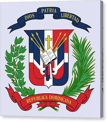 Canvas Print featuring the drawing Dominican Republic Coat Of Arms by Movie Poster Prints