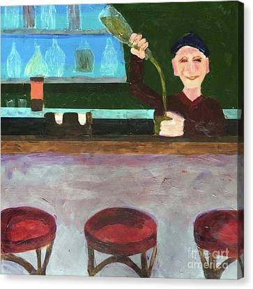 Canvas Print featuring the painting Don At Tres Gringos Bartending by Donald J Ryker III