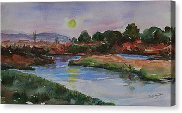 Canvas Print featuring the painting Don Edwards San Francisco Bay National Wildlife Refuge Landscape 1 by Xueling Zou