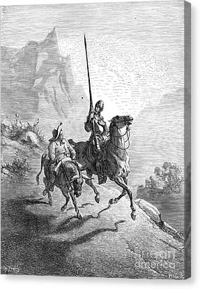 Don Quixote And Sancho Canvas Print by Granger