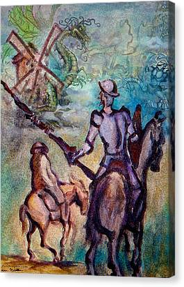 Don Quixote With Dragon Canvas Print by Kevin Middleton