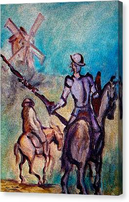 Don Quixote With Windmill Canvas Print by Kevin Middleton