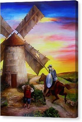 Don Quixote Canvas Print - Don Quixote's Windmill Adventure by Dominica Alcantara