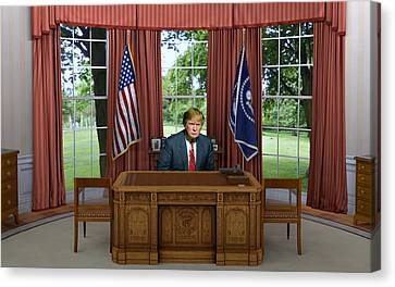 Donald Trump In The Oval Office Canvas Print by Movie Poster Prints