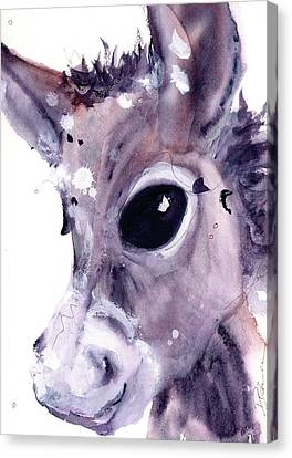 Canvas Print featuring the painting Donkey by Dawn Derman