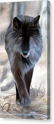 Canvas Print featuring the painting Gray Wolf Treading Carefully by James Shepherd