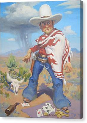 Don't Slap Leather With The Pecos Kid Canvas Print by Texas Tim Webb
