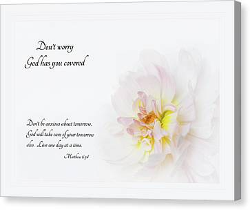Canvas Print featuring the photograph Don't Worry With Verse by Mary Jo Allen