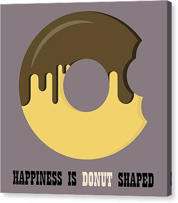 Donut Poster Print - Happiness Is Doughnut Shaped Canvas Print by Beautify My Walls