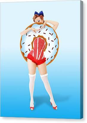 Donuts Woman Canvas Print by Mark Ashkenazi