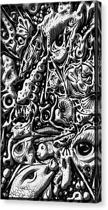Canvas Print featuring the digital art Doodle Emboss by Darren Cannell