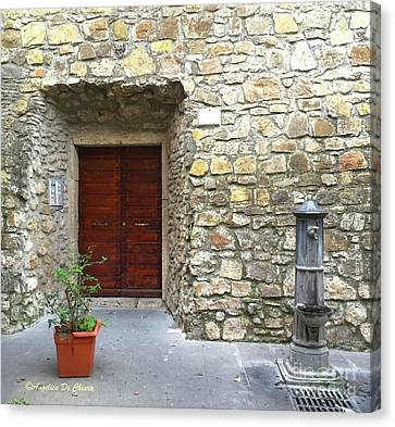 Door And Fountain  In Anzio Italy Canvas Print by Italian Art