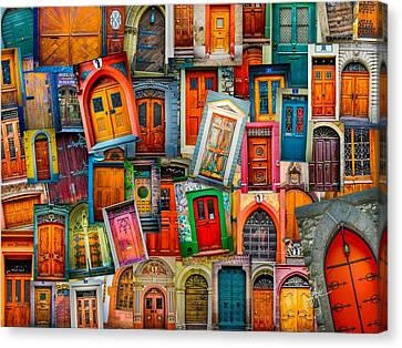 Door Collage Mashup Canvas Print by TK Goforth