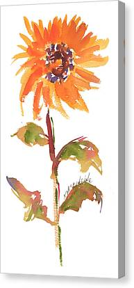 Door Keeper Sunflower Watercolor Painting By Kmcelwaine Canvas Print by Kathleen McElwaine
