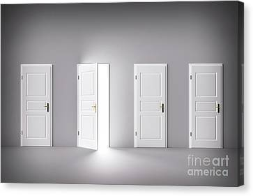 Door Open To The Light, New World, Chance Or Opportunity. Canvas Print by Michal Bednarek