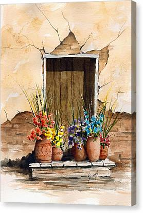 Door With Flower Pots Canvas Print by Sam Sidders