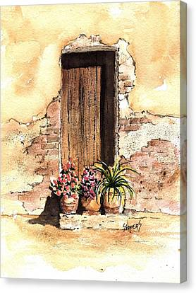 Door With Flowers Canvas Print by Sam Sidders