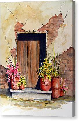 Door With Pots Canvas Print by Sam Sidders