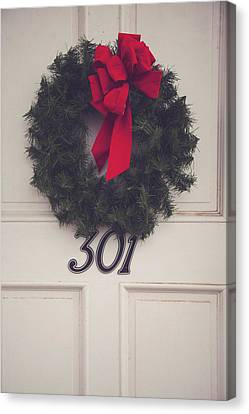 Genealogy Canvas Print - Door With Red Bow Wreath by Toni Hopper