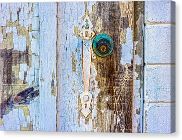 Door With Weathered Paint Canvas Print