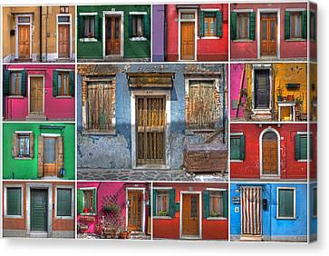 doors and windows of Burano - Venice Canvas Print by Joana Kruse