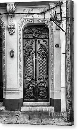 Doors Of Cuba Yellow Door Bw Canvas Print