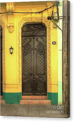 Doors Of Cuba Yellow Door Canvas Print by Wayne Moran