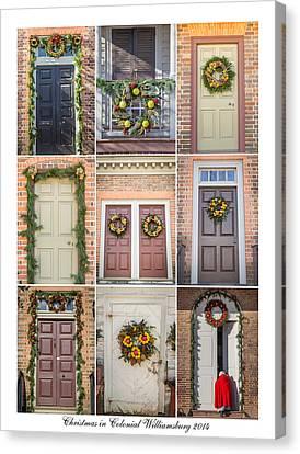 Virginia Canvas Print - Doors Of Wiliamsburg Collage 5 by Teresa Mucha