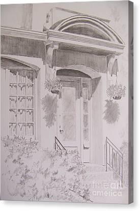 Canvas Print featuring the drawing Doorway by Jackie Mueller-Jones