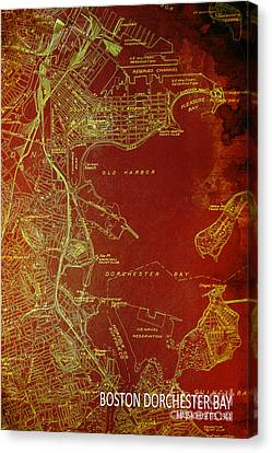 Dorchester Bay Old Map Canvas Print