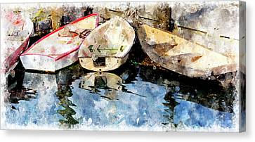 Dories At Lubec Pier Wc Canvas Print by Peter J Sucy