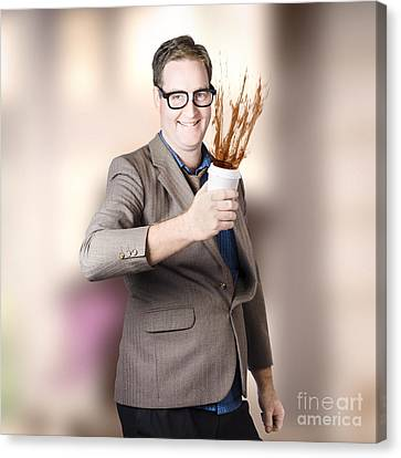 Dorky Office Guy Splashing Coffee. Caffeine Hit Canvas Print