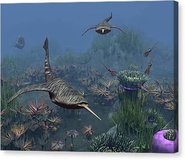 Doryaspis Swim Amongst A Bed Canvas Print by Walter Myers
