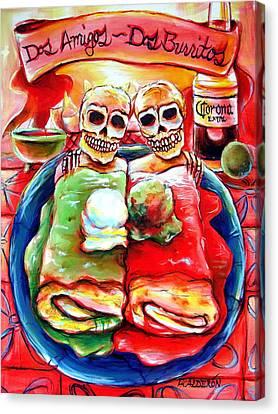 Dos Amigos Dos Burritos Canvas Print by Heather Calderon