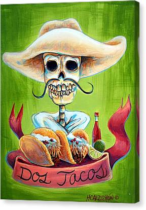 Dia De Los Muertos Canvas Print - Dos Tacos by Heather Calderon