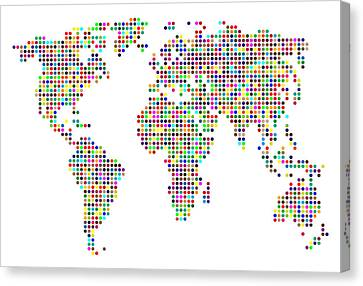 Dot Map Of The World - Colour On White Canvas Print by Michael Tompsett