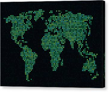 Dot Map Of The World - Green Canvas Print by Michael Tompsett