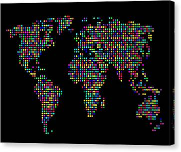 Dot Map Of The World - Multi Colours Canvas Print by Michael Tompsett