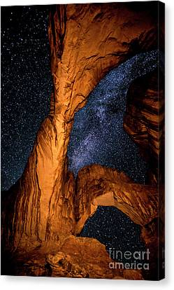 Double Arch And The Milky Way - Utah Canvas Print by Gary Whitton