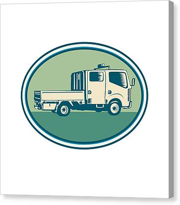 Double Cab Pick-up Truck Oval Woodcut Canvas Print