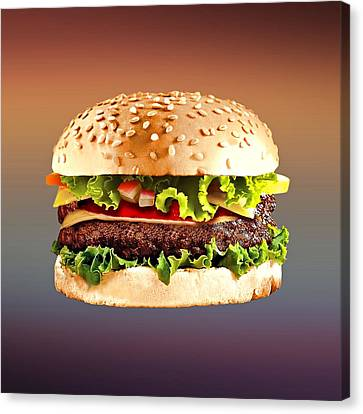 Hamburger Canvas Print - Double Cheeseburger  by Movie Poster Prints