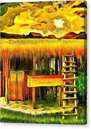 Beige Canvas Print - Double Deck For Farming - Da by Leonardo Digenio