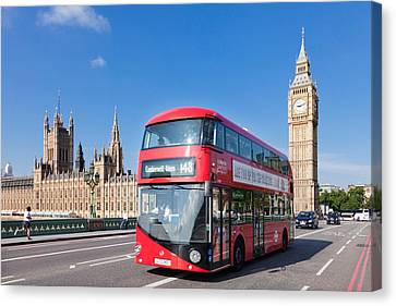 Double-decker Bus Moving On Westminster Canvas Print