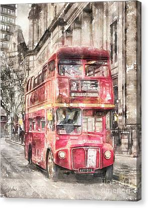 Double-decker Red Bus Of London Canvas Print by Shirley Stalter